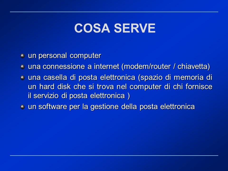 COSA SERVE un personal computer una connessione a internet (modem/router / chiavetta) una casella di posta elettronica (spazio di memoria di un hard d