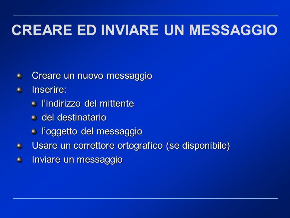 CREARE ED INVIARE UN MESSAGGIO Creare un nuovo messaggio Creare un nuovo messaggio Inserire: Inserire: lindirizzo del mittente lindirizzo del mittente