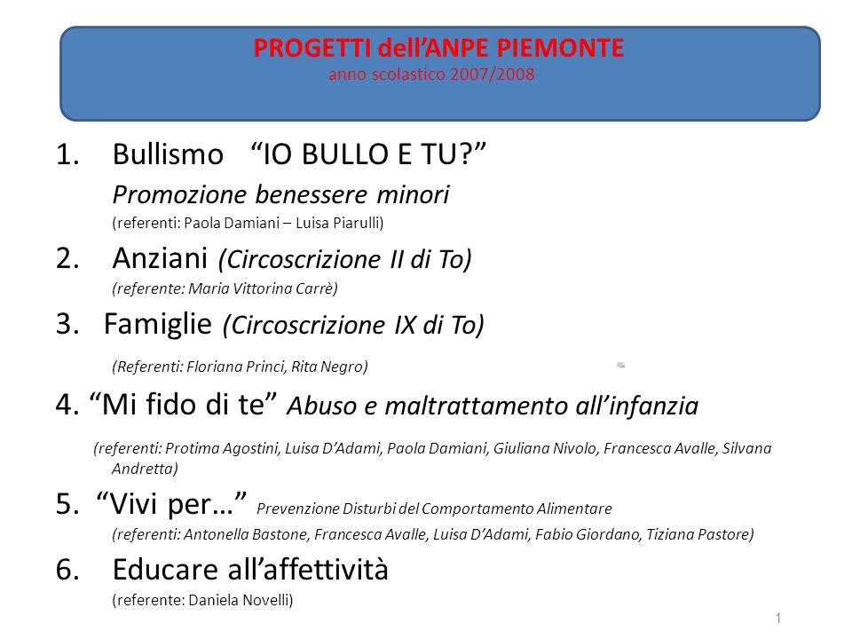 1.Bullismo IO BULLO E TU? Promozione benessere minori (referenti: Paola Damiani – Luisa Piarulli) 2.Anziani (Circoscrizione II di To) (referente: Mari