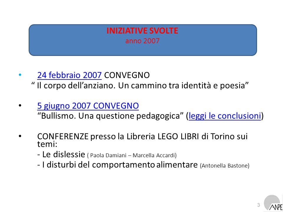 24 febbraio 2007 CONVEGNO 24 febbraio 2007 Il corpo dellanziano. Un cammino tra identità e poesia 5 giugno 2007 CONVEGNO Bullismo. Una questione pedag