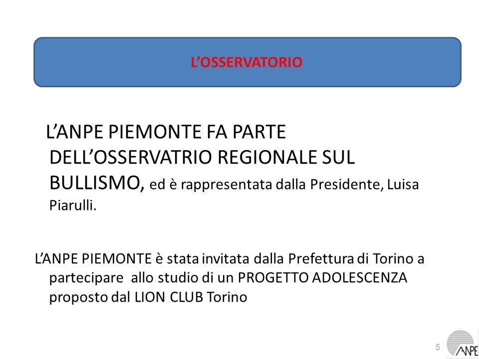 LANPE PIEMONTE FA PARTE DELLOSSERVATRIO REGIONALE SUL BULLISMO, ed è rappresentata dalla Presidente, Luisa Piarulli. LANPE PIEMONTE è stata invitata d