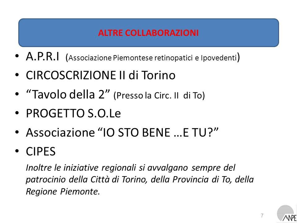 A.P.R.I ( Associazione Piemontese retinopatici e Ipovedenti ) CIRCOSCRIZIONE II di Torino Tavolo della 2 (Presso la Circ. II di To) PROGETTO S.O.Le As