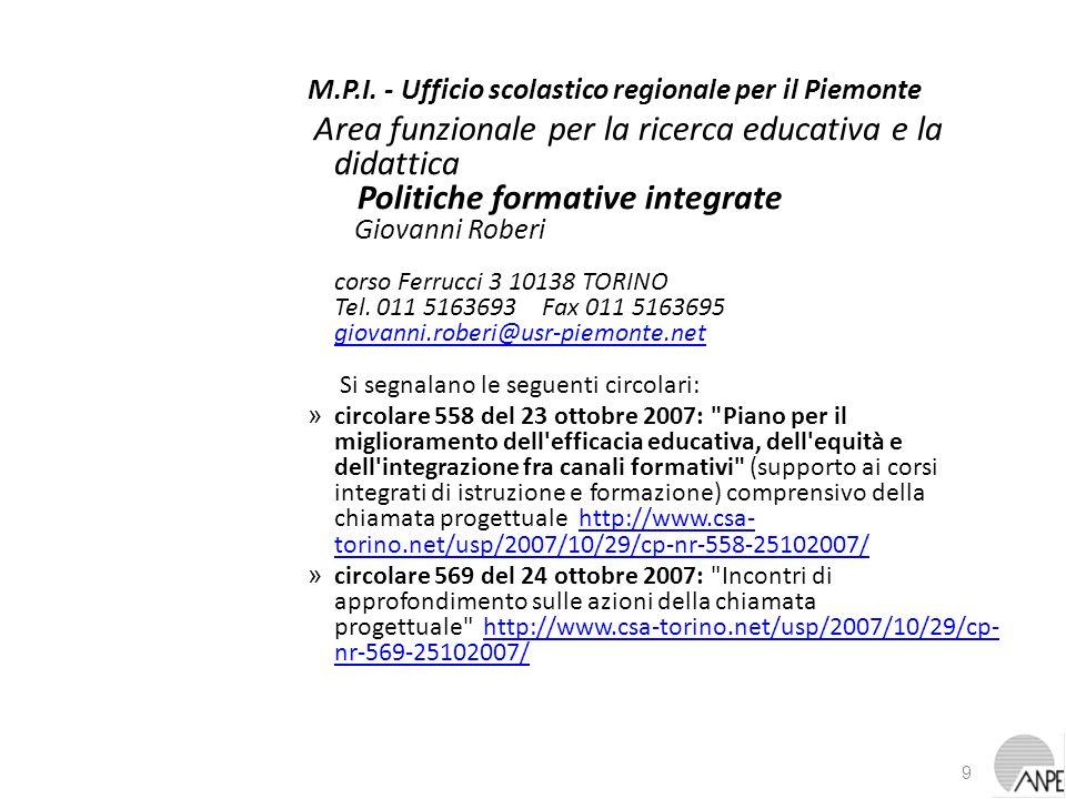 M.P.I. - Ufficio scolastico regionale per il Piemonte Area funzionale per la ricerca educativa e la didattica Politiche formative integrate Giovanni R