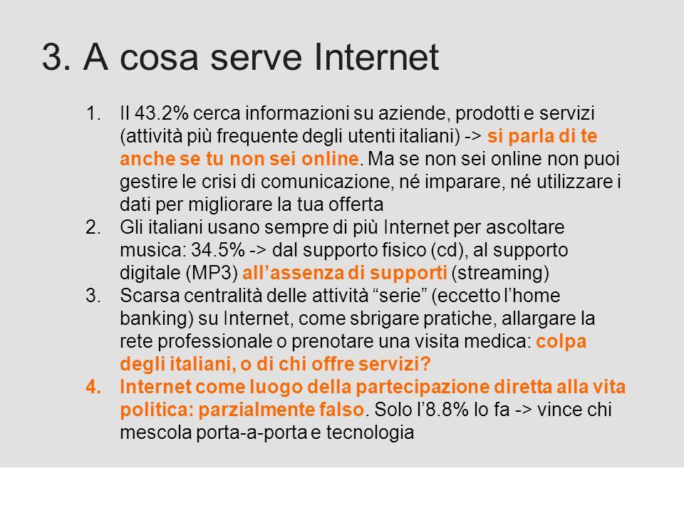 Proforma / Un blog aziendale: perché? 3. A cosa serve Internet 1.Il 43.2% cerca informazioni su aziende, prodotti e servizi (attività più frequente de