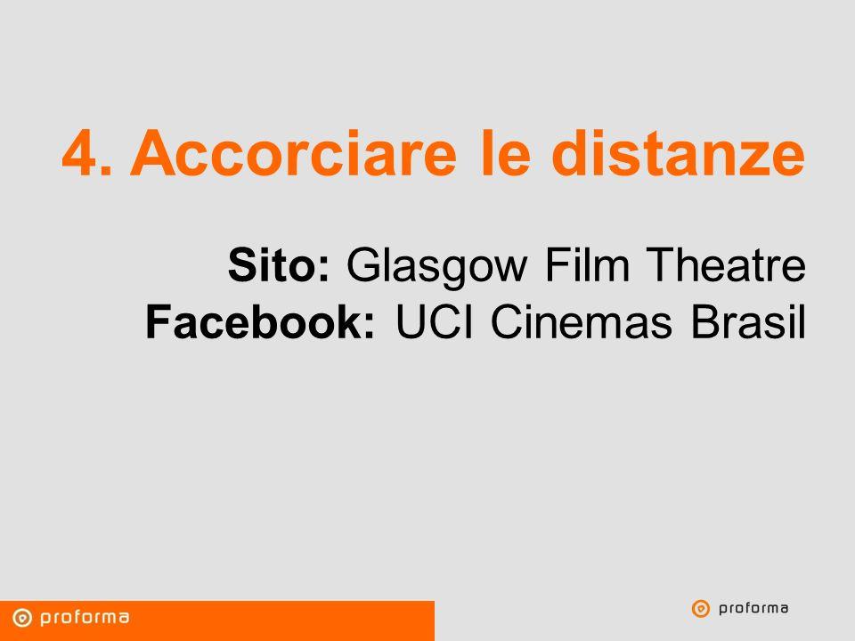 Proforma / Un blog aziendale: perché? 4. Accorciare le distanze Sito: Glasgow Film Theatre Facebook: UCI Cinemas Brasil
