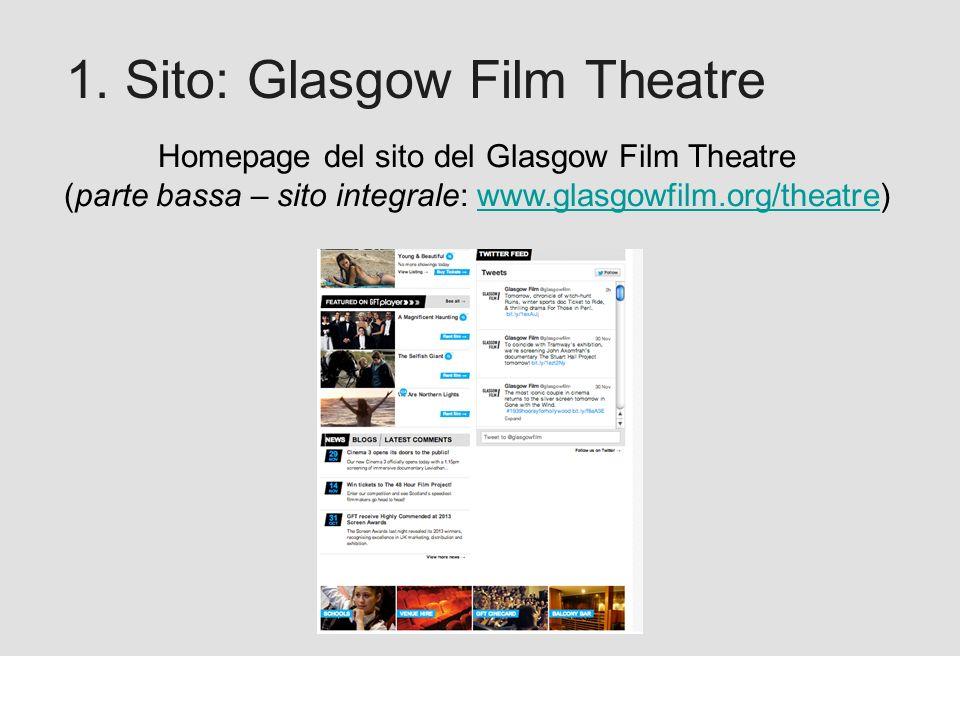 Proforma / Un blog aziendale: perché? 1. Sito: Glasgow Film Theatre Homepage del sito del Glasgow Film Theatre (parte bassa – sito integrale: www.glas