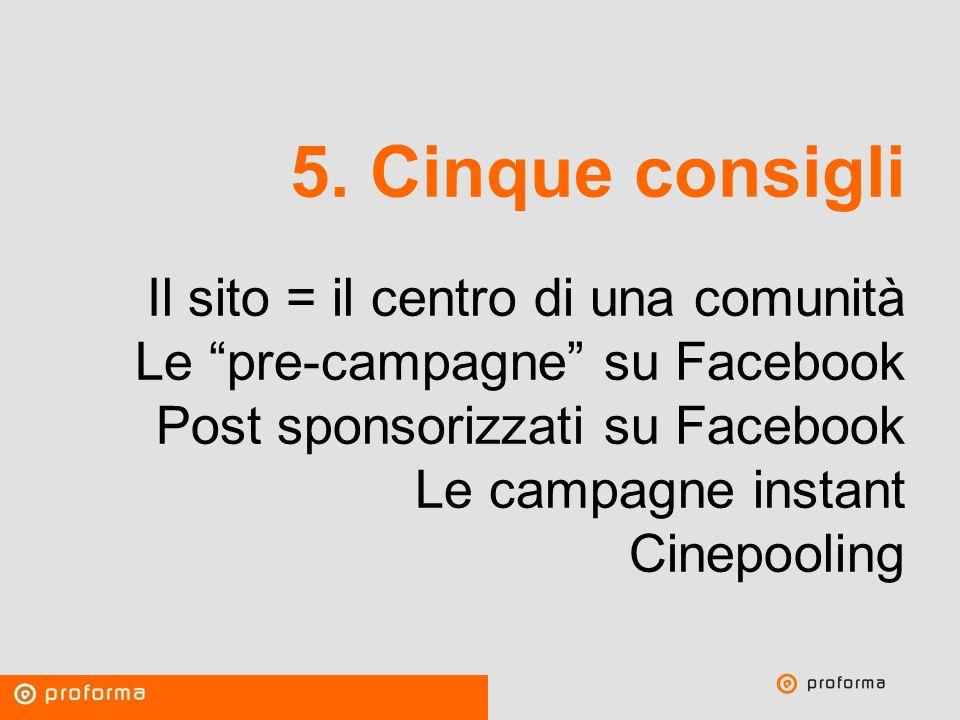 Proforma / Un blog aziendale: perché? 5. Cinque consigli Il sito = il centro di una comunità Le pre-campagne su Facebook Post sponsorizzati su Faceboo