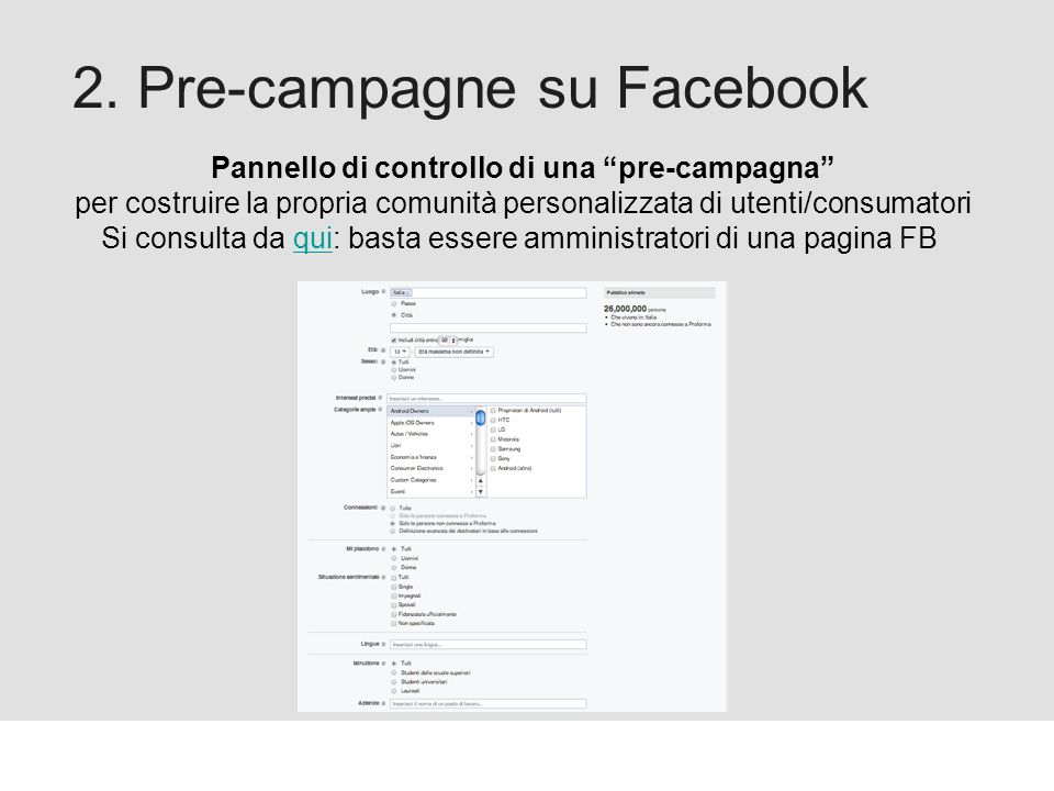 Proforma / Un blog aziendale: perché? 2. Pre-campagne su Facebook Pannello di controllo di una pre-campagna per costruire la propria comunità personal