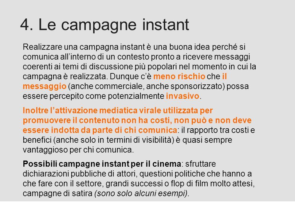 Proforma / Un blog aziendale: perché? 4. Le campagne instant Realizzare una campagna instant è una buona idea perché si comunica allinterno di un cont