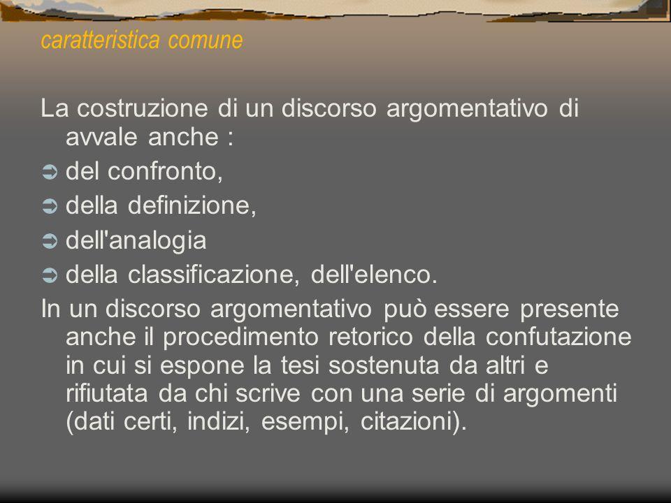 caratteristica comune La costruzione di un discorso argomentativo di avvale anche : del confronto, della definizione, dell'analogia della classificazi