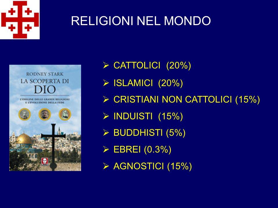 RELIGIONI NEL MONDO CATTOLICI (20%) ISLAMICI (20%) CRISTIANI NON CATTOLICI (15%) INDUISTI (15%) BUDDHISTI (5%) EBREI (0.3%) AGNOSTICI (15%)
