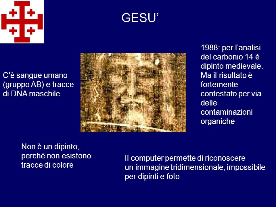 GESU Cè sangue umano (gruppo AB) e tracce di DNA maschile Non è un dipinto, perché non esistono tracce di colore 1988: per lanalisi del carbonio 14 è