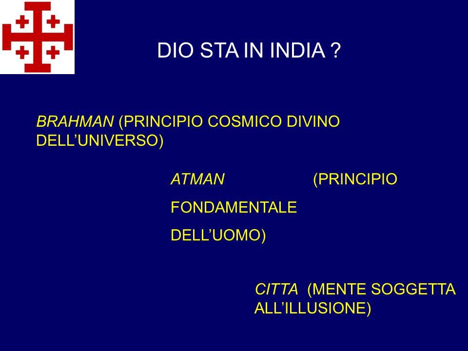 ATMAN (PRINCIPIO FONDAMENTALE DELLUOMO) DIO STA IN INDIA ? BRAHMAN (PRINCIPIO COSMICO DIVINO DELLUNIVERSO) CITTA (MENTE SOGGETTA ALLILLUSIONE)