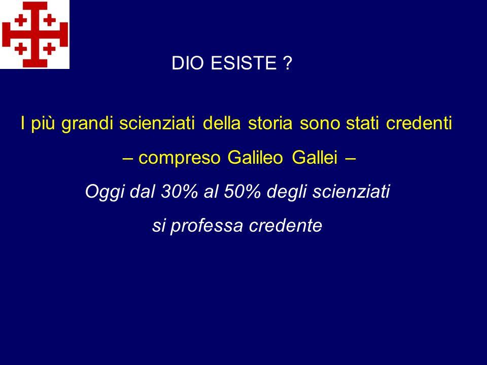 DIO ESISTE ? I più grandi scienziati della storia sono stati credenti – compreso Galileo Gallei – Oggi dal 30% al 50% degli scienziati si professa cre