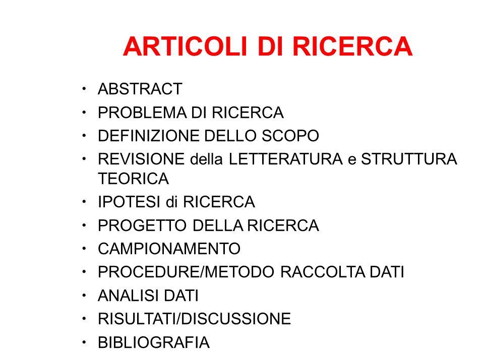 ARTICOLI DI RICERCA ABSTRACT PROBLEMA DI RICERCA DEFINIZIONE DELLO SCOPO REVISIONE della LETTERATURA e STRUTTURA TEORICA IPOTESI di RICERCA PROGETTO D