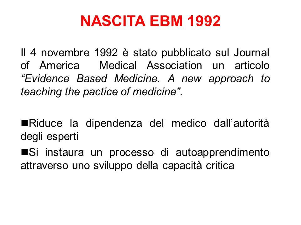 NASCITA EBM 1992 Il 4 novembre 1992 è stato pubblicato sul Journal of America Medical Association un articolo Evidence Based Medicine. A new approach
