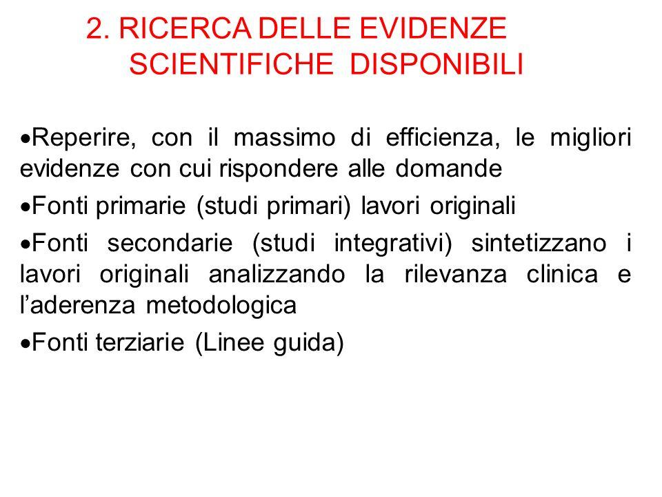 2. RICERCA DELLE EVIDENZE SCIENTIFICHE DISPONIBILI Reperire, con il massimo di efficienza, le migliori evidenze con cui rispondere alle domande Fonti