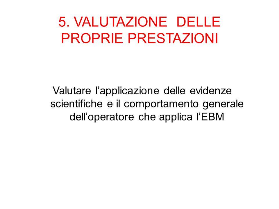 5. VALUTAZIONE DELLE PROPRIE PRESTAZIONI Valutare lapplicazione delle evidenze scientifiche e il comportamento generale delloperatore che applica lEBM