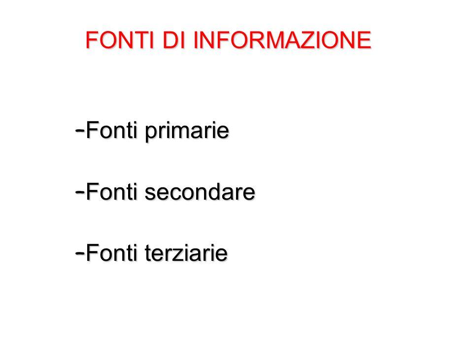 FONTI DI INFORMAZIONE – Fonti primarie – Fonti secondare – Fonti terziarie