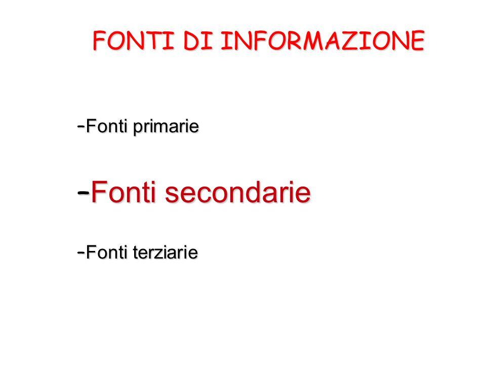 FONTI DI INFORMAZIONE – Fonti primarie – Fonti secondarie – Fonti terziarie