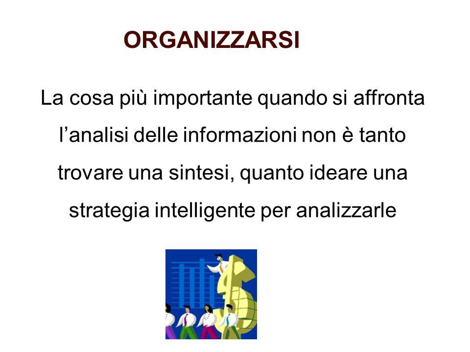 ORGANIZZARSI La cosa più importante quando si affronta lanalisi delle informazioni non è tanto trovare una sintesi, quanto ideare una strategia intell