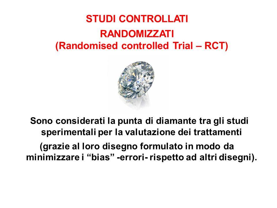 STUDI CONTROLLATI RANDOMIZZATI (Randomised controlled Trial – RCT) Sono considerati la punta di diamante tra gli studi sperimentali per la valutazione