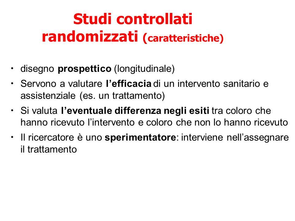 Studi controllati randomizzati ( caratteristiche) disegno prospettico (longitudinale) Servono a valutare lefficacia di un intervento sanitario e assis