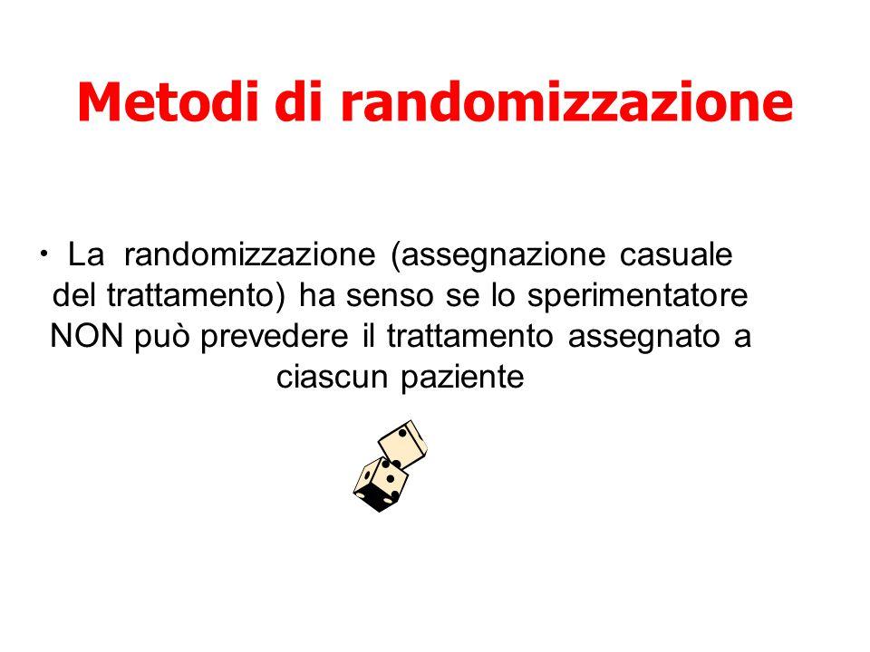 Metodi di randomizzazione La randomizzazione (assegnazione casuale del trattamento) ha senso se lo sperimentatore NON può prevedere il trattamento ass