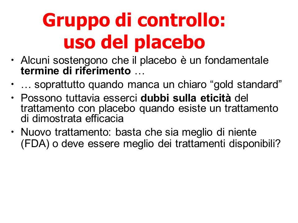 Gruppo di controllo: uso del placebo Alcuni sostengono che il placebo è un fondamentale termine di riferimento … … soprattutto quando manca un chiaro