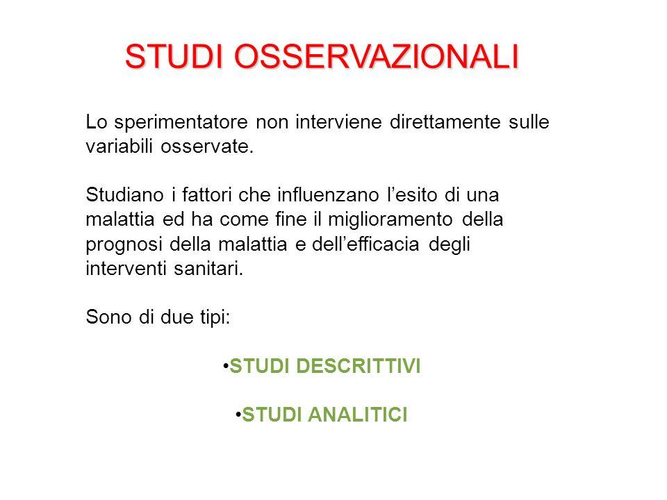 STUDI OSSERVAZIONALI Lo sperimentatore non interviene direttamente sulle variabili osservate. Studiano i fattori che influenzano lesito di una malatti