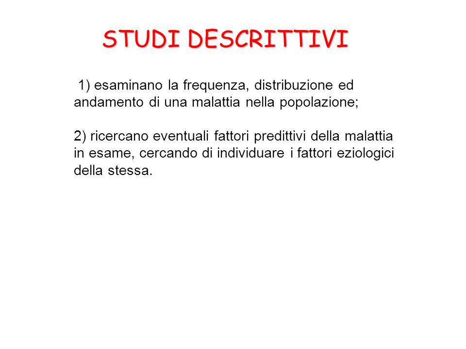 STUDI DESCRITTIVI 1) esaminano la frequenza, distribuzione ed andamento di una malattia nella popolazione; 2) ricercano eventuali fattori predittivi d