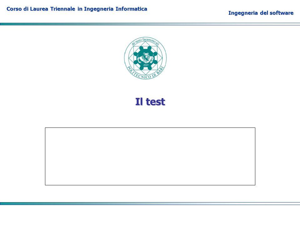 Corso di Laurea Triennale in Ingegneria Informatica Ingegneria del software Il test