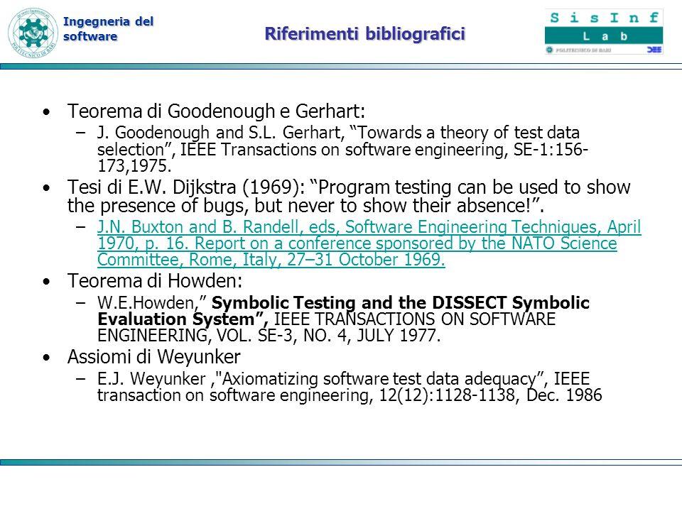 Ingegneria del software Riferimenti bibliografici Teorema di Goodenough e Gerhart: –J. Goodenough and S.L. Gerhart, Towards a theory of test data sele