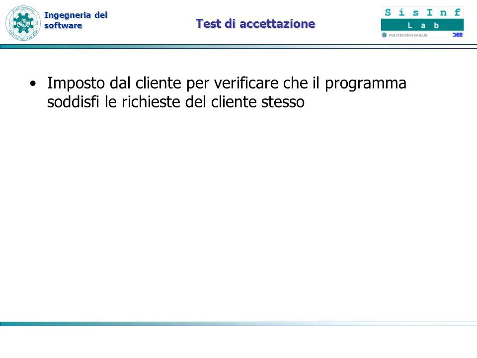 Ingegneria del software Test di accettazione Imposto dal cliente per verificare che il programma soddisfi le richieste del cliente stesso
