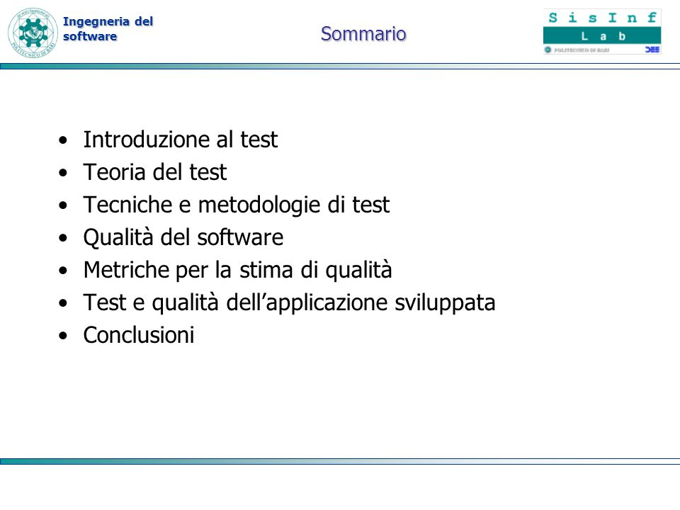Ingegneria del software Tecniche di analisi statica Analisi statica in compilazione Code reading Control flow analysis Data flow analysis Code inspections or reviews Esecuzione simbolica