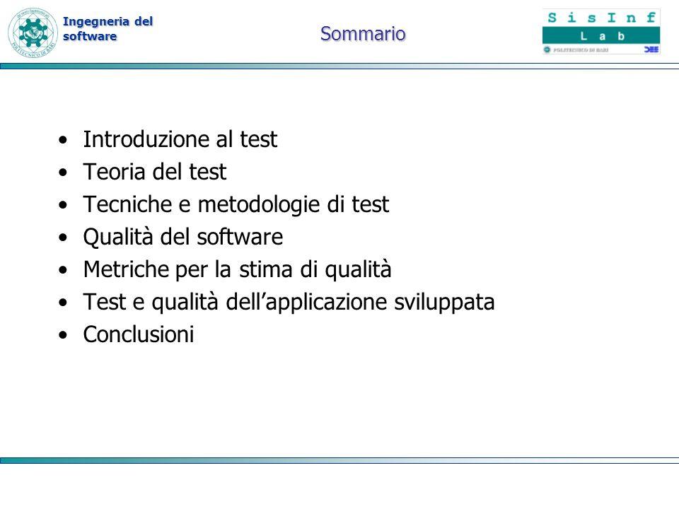 Ingegneria del software Sommario Introduzione al test Teoria del test Tecniche e metodologie di test Qualità del software Metriche per la stima di qua