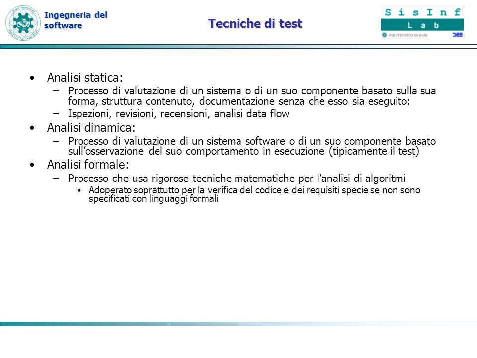 Ingegneria del software Tecniche di test Analisi statica: –Processo di valutazione di un sistema o di un suo componente basato sulla sua forma, strutt