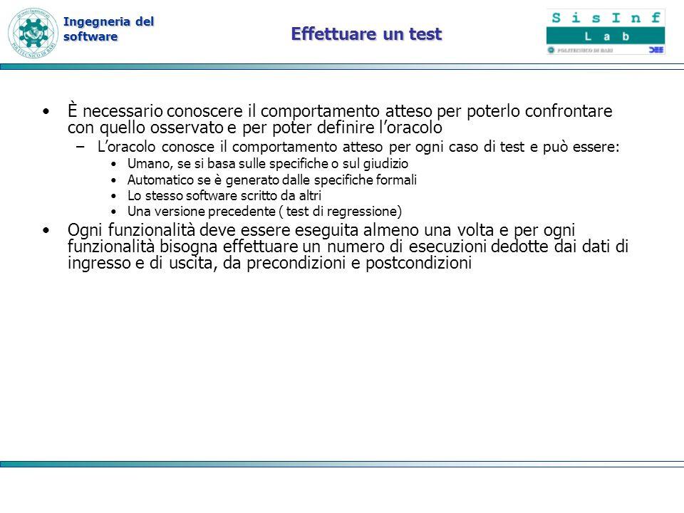 Ingegneria del software Effettuare un test È necessario conoscere il comportamento atteso per poterlo confrontare con quello osservato e per poter def