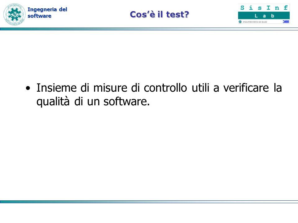 Ingegneria del software Metodo di copertura delle diramazioni Si seleziona un insieme T di dati di test tale che ogni diramazione del flusso di controllo viene selezionata almeno una volta da qualche elemento di T.