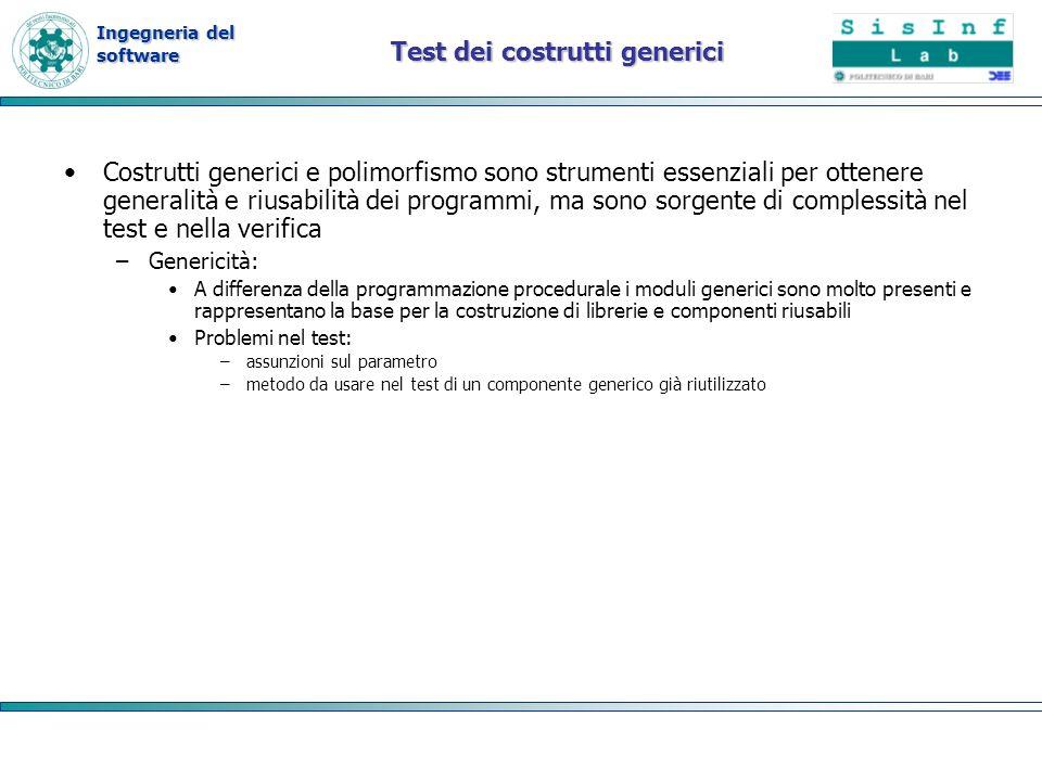Ingegneria del software Test dei costrutti generici Costrutti generici e polimorfismo sono strumenti essenziali per ottenere generalità e riusabilità