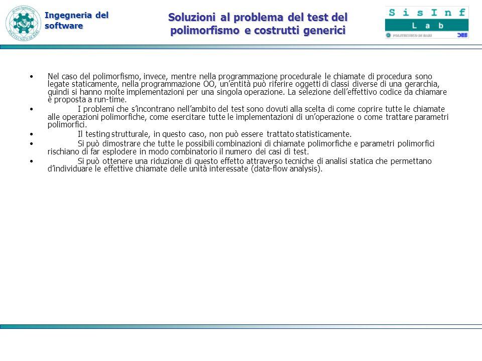 Ingegneria del software Soluzioni al problema del test del polimorfismo e costrutti generici Nel caso del polimorfismo, invece, mentre nella programma