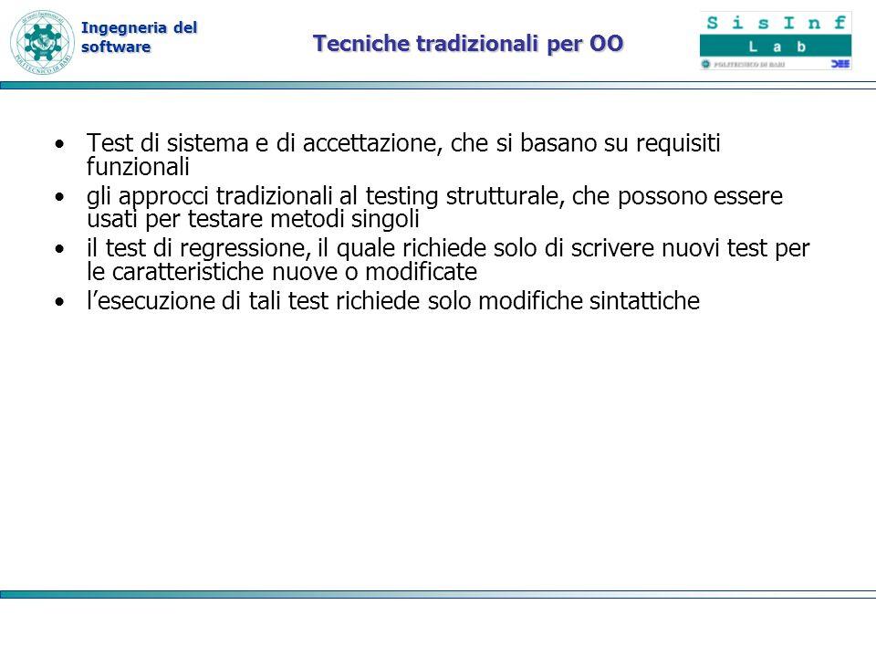 Ingegneria del software Tecniche tradizionali per OO Test di sistema e di accettazione, che si basano su requisiti funzionali gli approcci tradizional