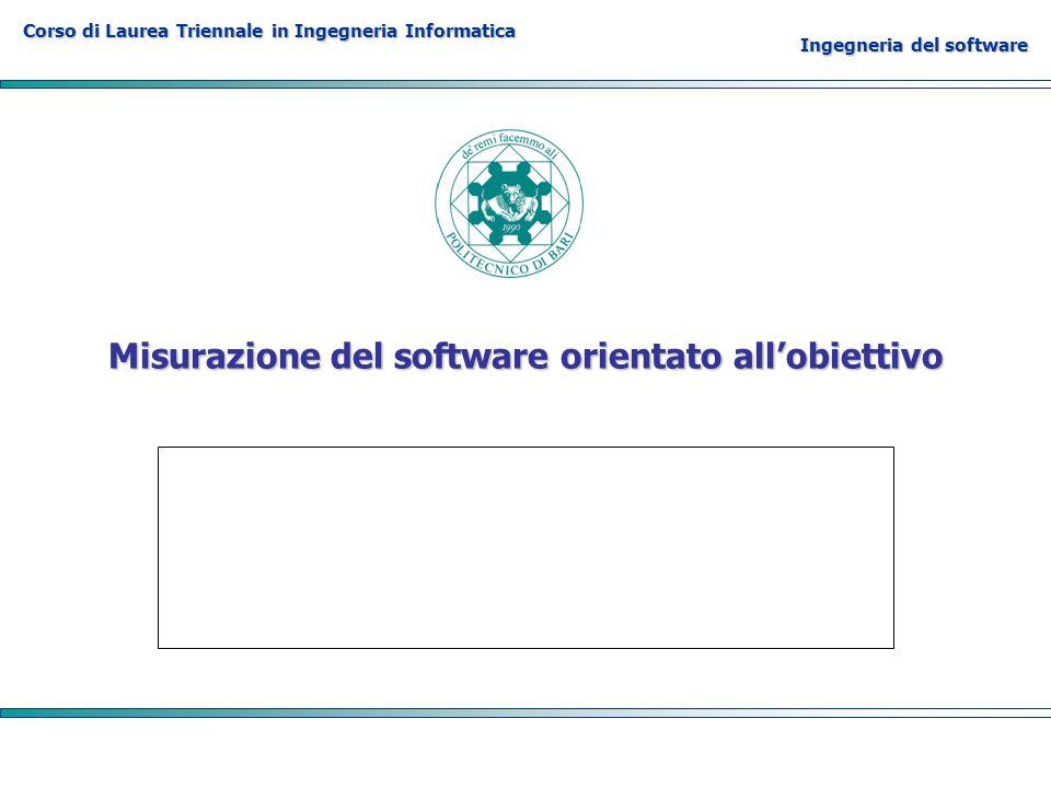 Corso di Laurea Triennale in Ingegneria Informatica Ingegneria del software Misurazione del software orientato allobiettivo