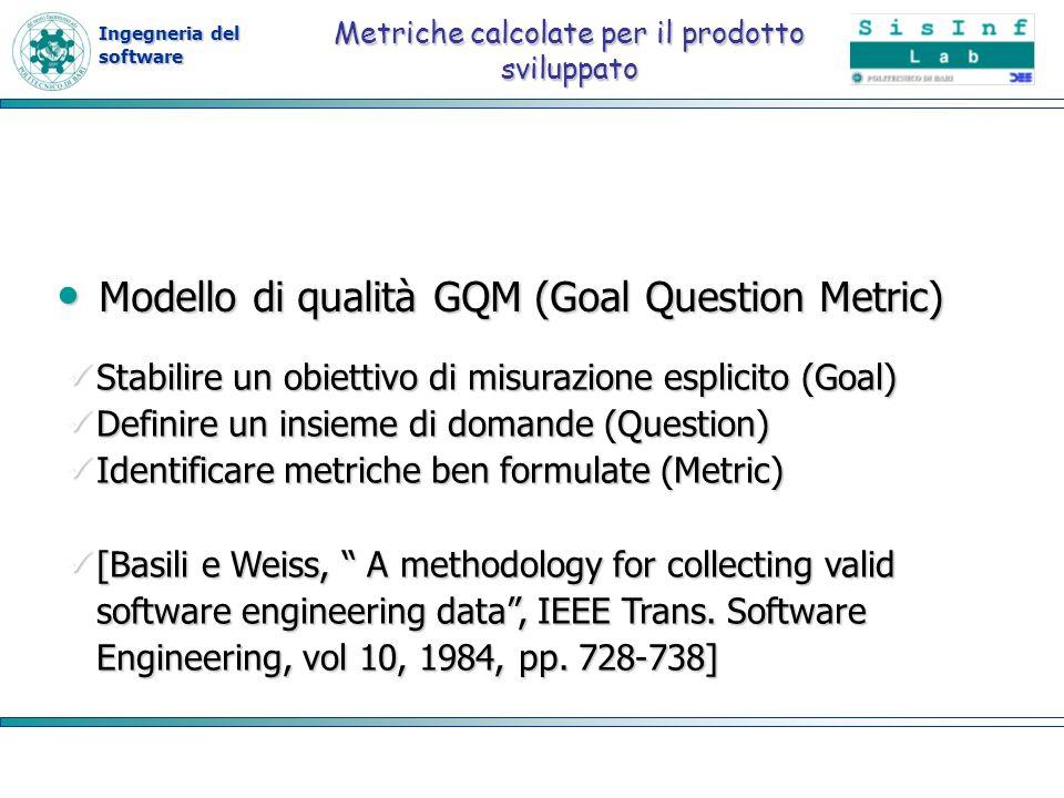 Ingegneria del software Metriche calcolate per il prodotto sviluppato Modello di qualità GQM (Goal Question Metric) Modello di qualità GQM (Goal Quest