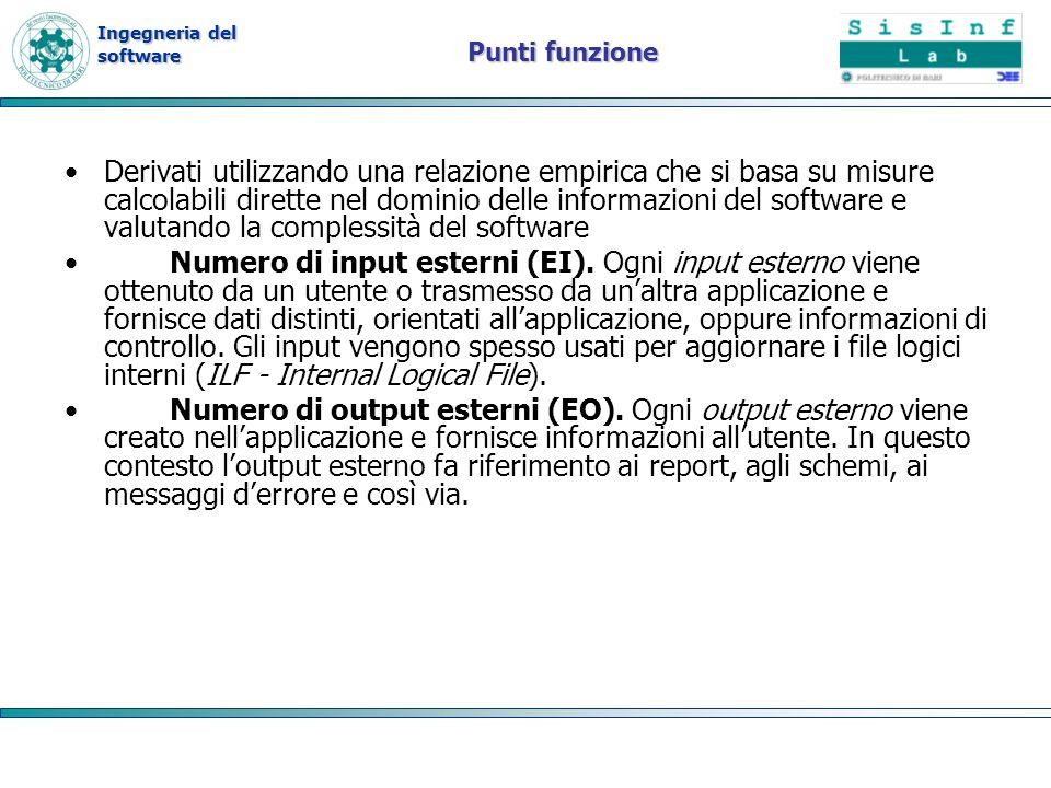 Ingegneria del software Punti funzione Derivati utilizzando una relazione empirica che si basa su misure calcolabili dirette nel dominio delle informa