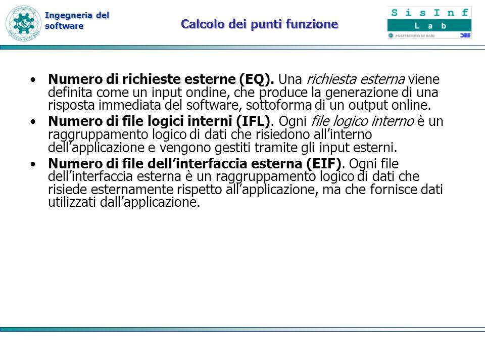 Ingegneria del software Calcolo dei punti funzione Numero di richieste esterne (EQ). Una richiesta esterna viene definita come un input ondine, che pr