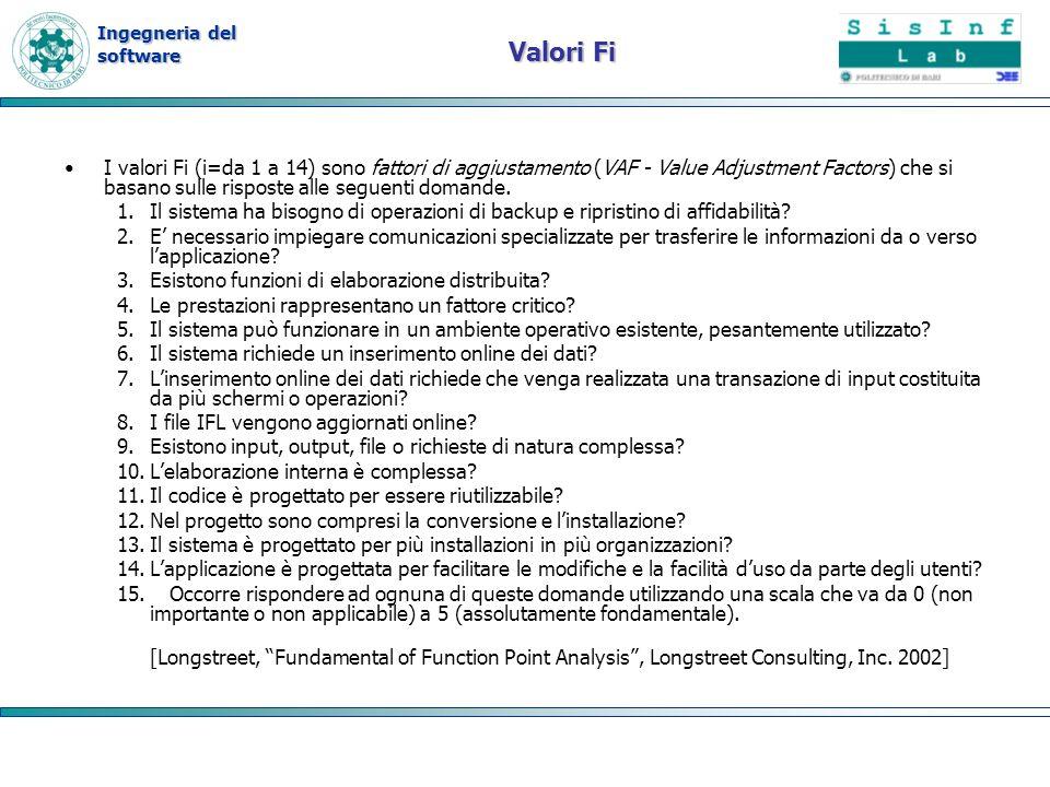 Ingegneria del software Valori Fi I valori Fi (i=da 1 a 14) sono fattori di aggiustamento (VAF - Value Adjustment Factors) che si basano sulle rispost