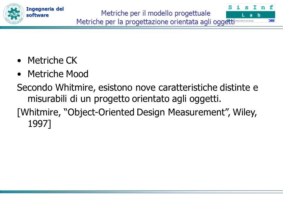 Ingegneria del software Metriche per il modello progettuale Metriche per la progettazione orientata agli oggetti Metriche CK Metriche Mood Secondo Whi