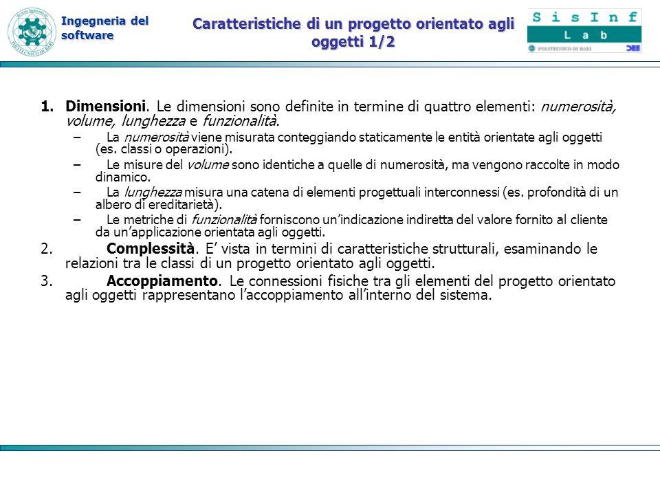 Ingegneria del software Caratteristiche di un progetto orientato agli oggetti 1/2 1.Dimensioni. Le dimensioni sono definite in termine di quattro elem