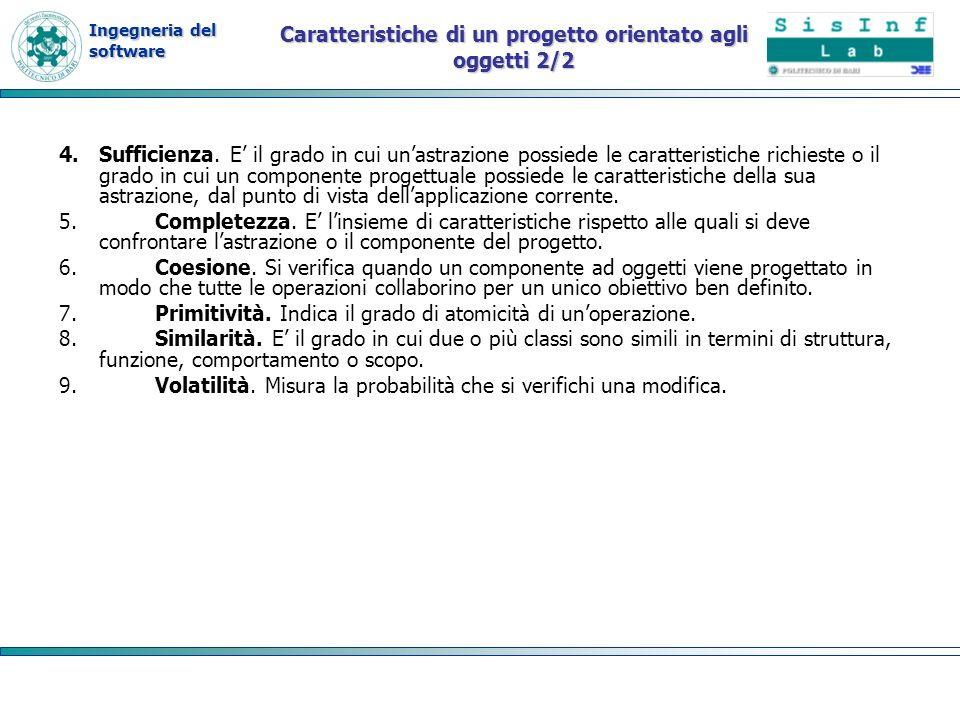 Ingegneria del software Caratteristiche di un progetto orientato agli oggetti 2/2 4.Sufficienza. E il grado in cui unastrazione possiede le caratteris